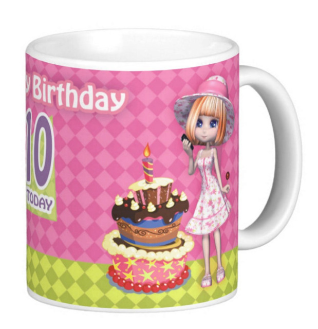 Birthday Gift Mug 8th 9th 10th 11th 12th 13th With Cute Girl And Cake