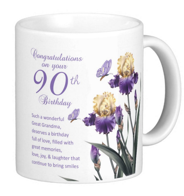 Great Grandma 90th Birthday Iris And Nice Verse Butterflies Gift Mug
