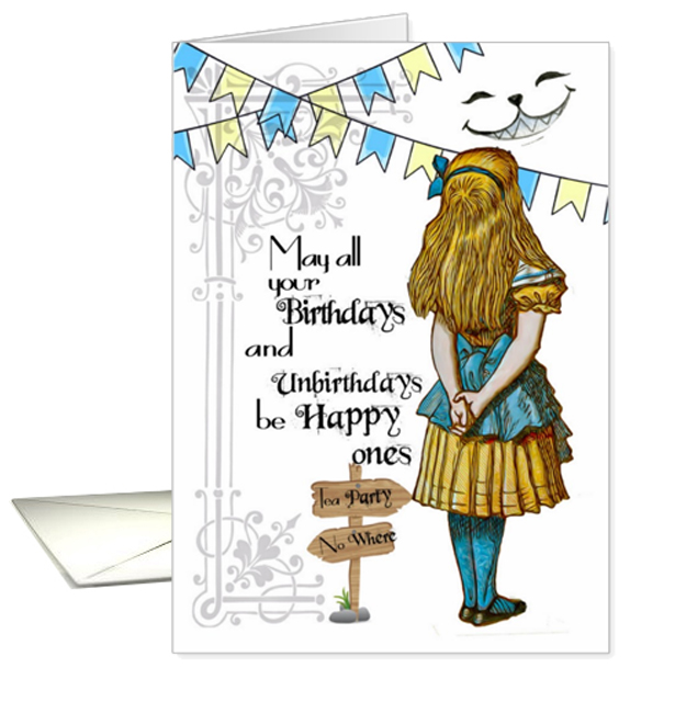 Alice In Wonderland Set Of Six Birthday Cards