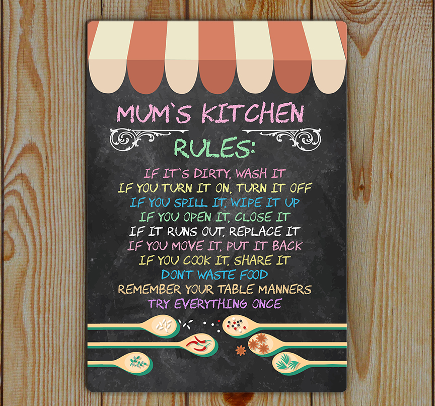 Kitchen Rules, Mum's, Kitchen Rules, Metal Tin Plaque